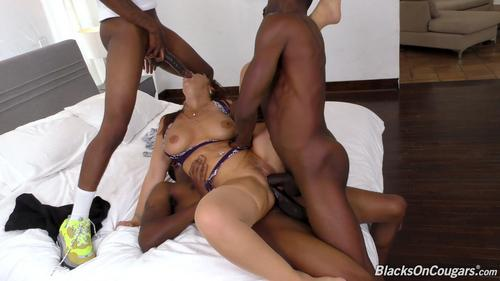 Syren De Mer Interracial Foursome With Cum In All 3 Holes .