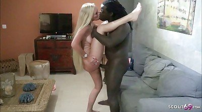 Hot Skinny Blonde Wife Fuck First Big Black Cock.
